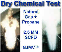 Dry chemical testing at NAO -- 2.5 MM SCFD of propane / natural gas mixture ( MW 28 ) with NJMV Vent Tip and Manual Dry Chemical approximately 10 pounds release -- FLAME OUT less than 5 seconds