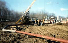Field piping and trailer setup along pipeline right-of-way