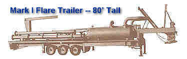 "Mark I Portable Trailer Flare -- 8"" by 80' Tall with Liquid Disentrainment Drum & Water Seal for Flashback Protection"