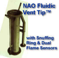 NAO Fluidic Vent Tip with Snuffing Ring & Dual Flame Sensors