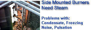 Thermal Oxidizer Flares with Side Mounted Burners -- PROBLEMS with Condensate, Freezing, Noise & Pulsations