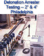 "Detonation testing -- 2"" & 4"" sizes in NAO Philadelphia -- monitoring flame speeds and pressures"