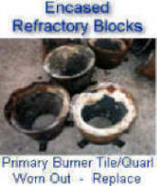 Encased refractory blocks -- primary tile for liquid burners and also for downfired reformer burners