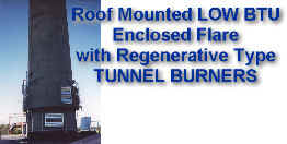 Roof Mounted LOW Btu (50 Btu/scf) Enclosed Flare with Regenerative Type TUNNEL BURNERS -- No Assist Gas Needed after Short Warm Up