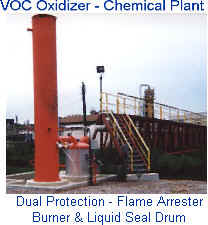 VOC Oxidizer for Chemical Plant -- Water Seal Drum to Remove Condensate and Provide Flashback Protection -- Also flame arrester burner for further protection  Water seal has removable top and internals for quick cleanout of any waste build ups